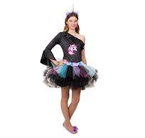 תחפושת לפורים חד קרן שחורה שמלת טוטו לנערות
