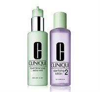 סבון נוזלי לעור הפנים + מי פנים עם פורמולה המרעננת את העור למגוון סוגי עור לבחירה CLINIQUE