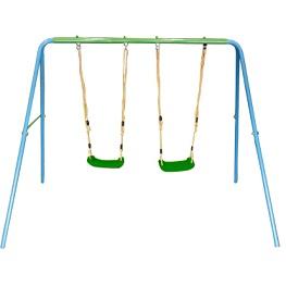 נדנדת חצר שני מושבים SWING & ROCK ממתכת צבעונית מבית CAMPTOWN