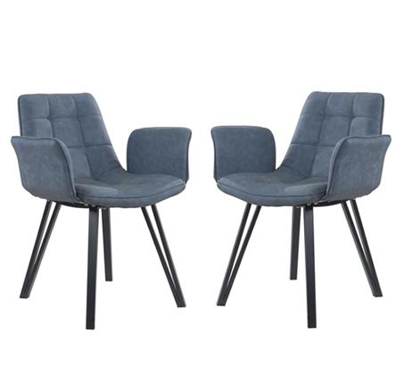 זוג כורסאות מרופדות בעיצוב מודרני בעלות רגלי מתכת דגם DEKEL