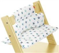 כרית ריפוד ועיצוב לכיסא אוכל טריפ טראפ 100% כותנה - לבן עם כוכבים