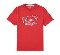 חולצת טי לוגו כתוב אוריג'ינל פינגויין - אדום