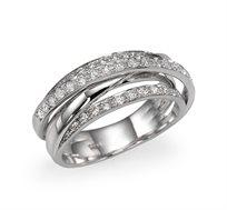 טבעת מעוצבת זהב 14K משובצת יהלומים במשקל כולל של 0.30 נקודות