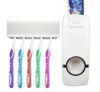 סט דיספנסר למשחת שיניים ומתקן לתלייה מברשות שיניים
