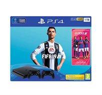 קונסולה פלייסטיישן 4 דגם SLIM בנפח 1TB כולל FIFA 19 + שני בקרים  יבואן רשמי