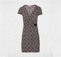שמלת מעטפת עם שרוולים קצרים MORGAN 182-ROSA.P בצבע שחור ולבן