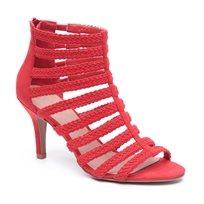 Seventy Nine - סנדל עקב רצועות בדוגמת כלוב בצבע אדום