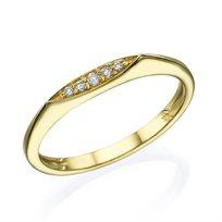 טבעת שורת יהלומים 0.10 קראט זהב צהוב