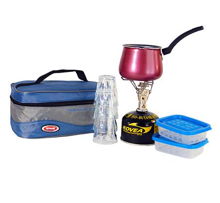 ערכת קפה מטיטניום המכילה כירת גז + מיכל, פינג'ן 4 כוסות ו2 קופסאות אחסון