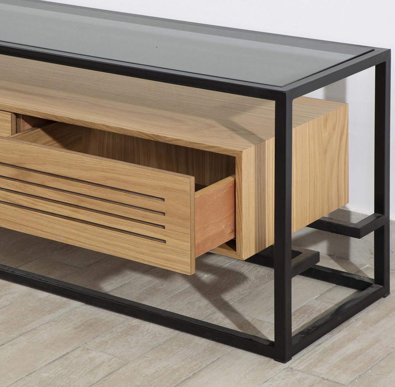 מזנון טלוויזיה סלוני עם מקום אחסון במראה המשלב זכוכית, ברזל בצבע שחור ועץ דגם אטלנטיק LEONARDO - תמונה 2