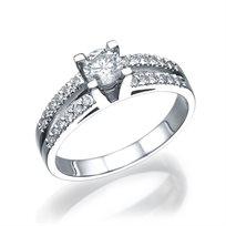 """טבעת אירוסין זהב לבן """"פנלופה"""" 0.60 קראט"""