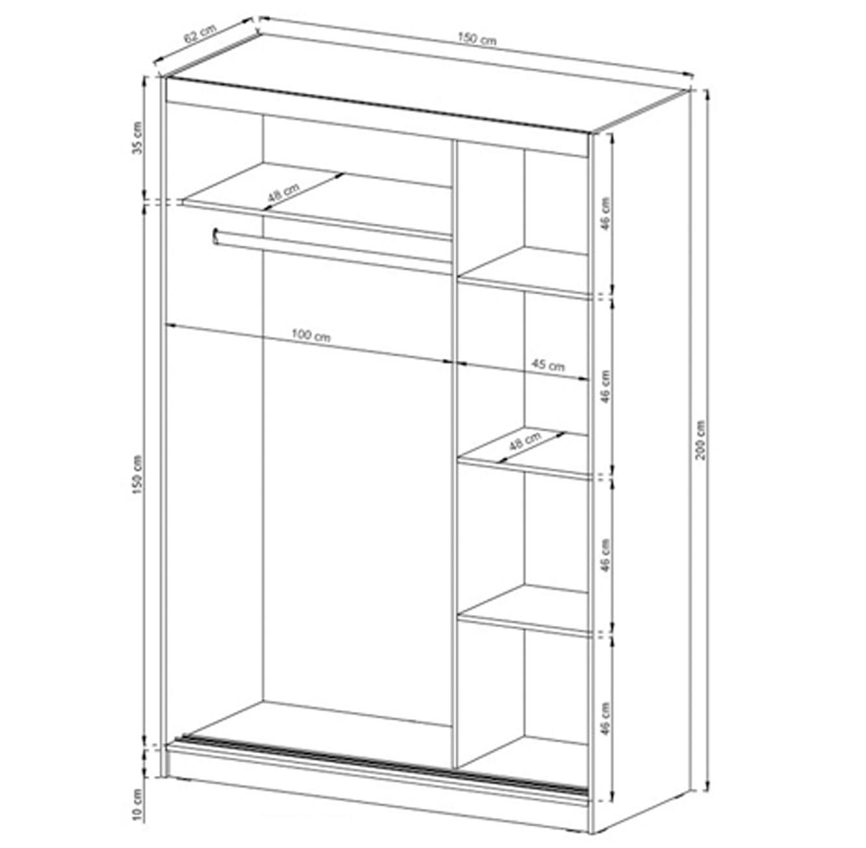 ארון בעל שתי דלתות הזזה בגוון אלון בעל מדפים ומקום לתלייה דגם סונומה HOME DECOR  - תמונה 4