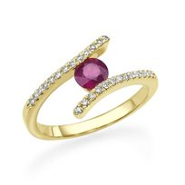 טבעת אירוסין טוויסט בשילוב אבן רובי אדומה 0.90 קראט יהלומים