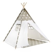 אוהל טיפי מעוצב לילדים - כוכבים אפורים
