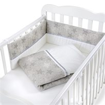 סט מצעים 3 חלקים למיטת תינוק 100% כותנה - כוכבים