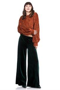 מכנסיים רחבים מקטיפה וליקרה על גומי במותניים