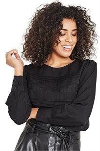 חולצה בשילוב תחרה PROMOD לנשים - שחור