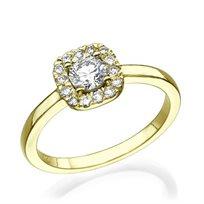 """טבעת אירוסין זהב צהוב """"דומיניק"""" 0.71 קראט"""