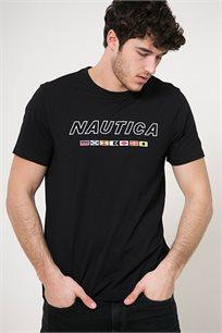 טי שירט לגבר עם צווארון עגול והדפס במרכז Nautica בצבע שחור