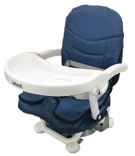 מושב הגבהה לתינוק גוסטו מתקפל עם מגש וריפוד שליף ורחיץ - כחול