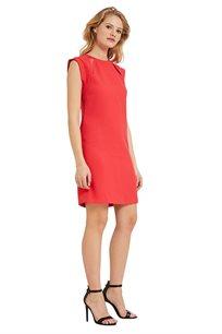שמלה קצרה MORGAN עם שרוולים קטנים וצווארון מעוגל בצבע קורל