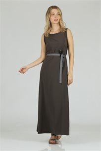 שמלה סאטן חגורה אפור