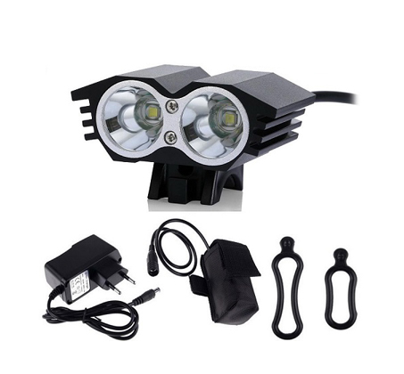 פנס לד מקצועי לרוכבי אופניים עמיד בגשם עם עוצמת תאורה עד 4000 לומן, 2 נורות לד ו-4 מצבי תאורה - תמונה 4