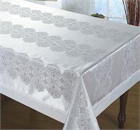 מפת שולחן ז'אקרד ברוקט ממוסגרת צבע לבן במבחר מידות