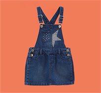 אוברול חצאית ג'ינס לילדות עם כיסים