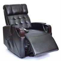 כורסת טלוויזיה חשמלית, בעיצוב רטרו, עם ידיות מעוצבות מעץ מהגוני בריפוד Leather Gel מבית AMERICAN