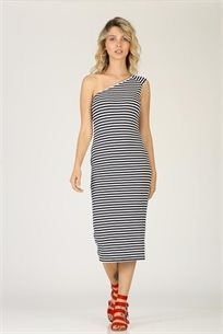 שמלה כתף אחת - נייבי - CUBiCA
