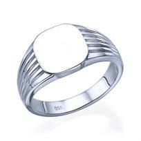 טבעת חותם זהב לבן 14K