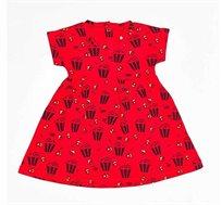 שמלת פופקורן בובתית לתינוקת בצבע אדום