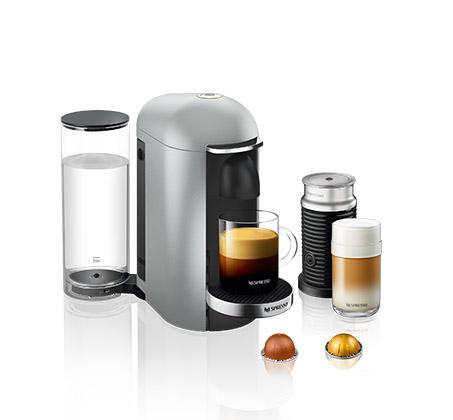 מכונת NESPRESSO וורטו פלוס בצבע כסוף כולל מקציף חלב ארוצ'ינו  דגם A3GCB2-IL-SI-NE