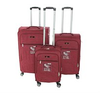 סט 3 מזוודות בד SWISS דגם Zürich קלות משקל עם אפשרות להרחבה