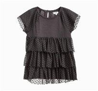 חולצה קצרה לילדות עם טול בצבע אפור כהה