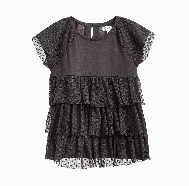 חולצה OVS קצרה לילדות עם טול - אפור כהה
