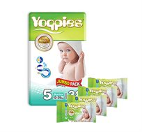 מארז 8 חבילות חיתולי פרימיום Yoppies ו- 8 חבילות מגבוני Yoppies מתנה