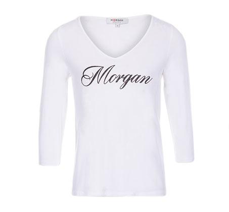 חולצה מודפסת עם צווארון וי ושרוולי 3/4 MORGAN  - צבע לבחירה