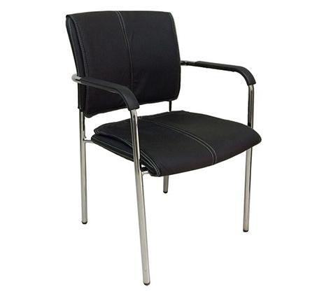 כיסא אורח בריפוד דמוי עור בשילוב ניקל דגם עדן