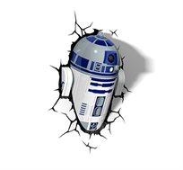 מנורת לד מלחמת הכוכבים - רובוט R2-D2 לעיצוב חדרי ילדים עם אפקט תלת מימדי חסכונית הפועלת על סוללות - משלוח חינם!