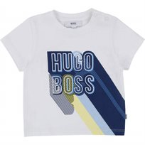 BOSS בוס טישרט (6-3 חודשים) לוגו - לבן כיתוב כחול
