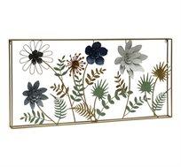 קישוט קיר מתכתי עם מסגרת בצורת שדה פרחים