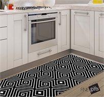 שטיח מעוצב דגם מעוינים שחור לבן בגדלים לבחירה