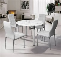 פינת אוכל עגולה משולבת מתכת וזכוכית עם אפשרות לפתיחת השולחן כולל 4 כסאות תואמים מבית SIRS