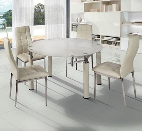 מקורי פינת אוכל עגולה משולבת מתכת וזכוכית עם אפשרות לפתיחת השולחן כולל 4 PC-19