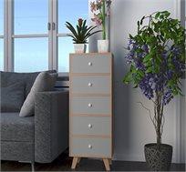 שידת חמש מגירות מעוצבת דגם צ'לסי עשויה מעץ בגוון בוק בשילוב לבן או אפור