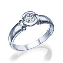 """טבעת אירוסין זהב לבן """"סטייסי"""" 0.41 קראט F/SI1"""