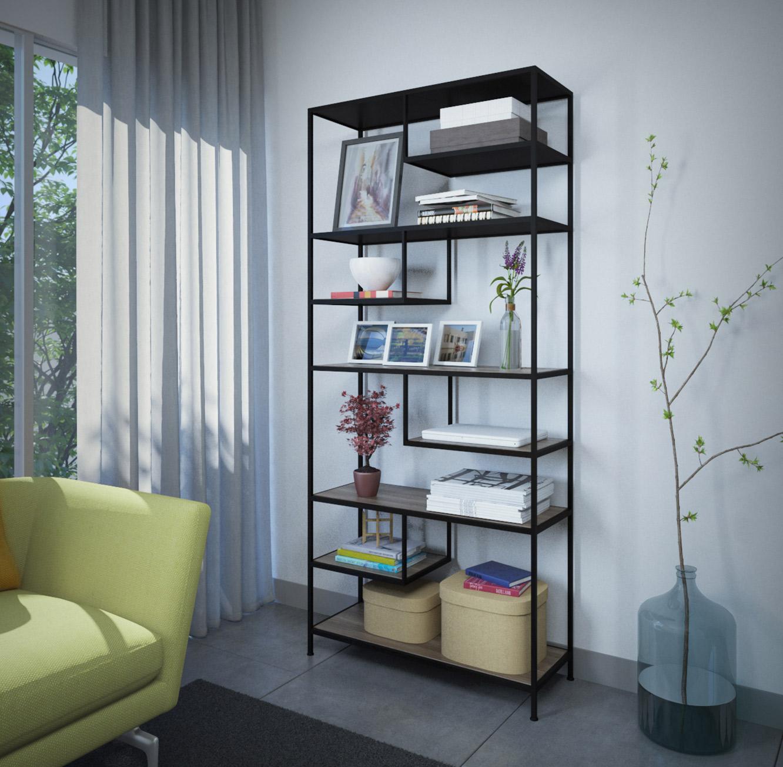 ספרייה בסגנון מודרני בעיצוב המשלב מתכת מושחרת ומדפים במראה עץ דגם ברגאמו RAZCO - תמונה 2