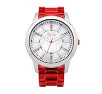 שעון יוקרתי לאישה French Connection עם רצועת פלסטיק אדומה ואבני קריסטל על גבי לוח כסוף